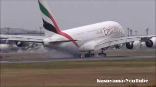[HD]Emirates landing to Narita Airport.ウィンドシア出てます!!