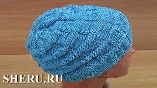 Женская или мужская шапка спицами. Урок вязания шапки 151