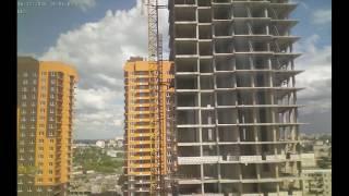 Строительство домов II очереди Квартала Европейский за июнь 2016г. (камера 1)