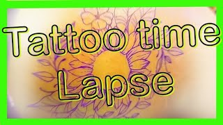 Tattoo time lapse !! Colorful Sunflower.