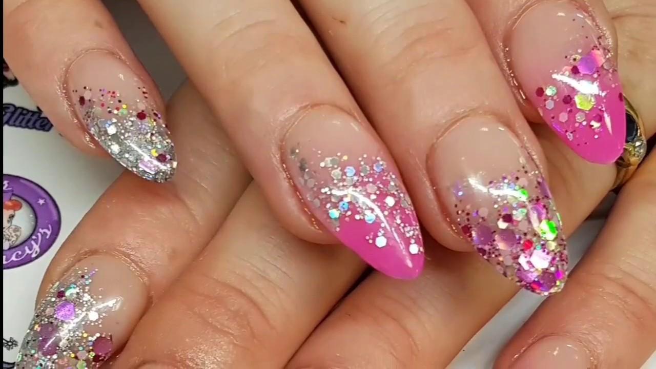 Pretty In Pink Acrylic Nails Glitter