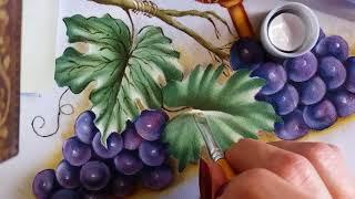 Folhas de uva – Pintura em tecido Ana Ferrante