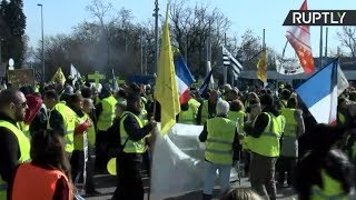 Yellow Vests protest in front of UN headquarters in Geneva