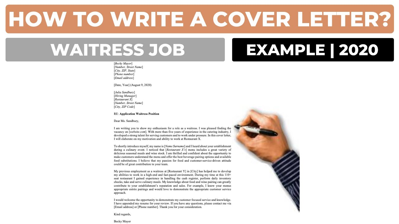 How To Write A Cover Letter For A Waitress Job Example Youtube