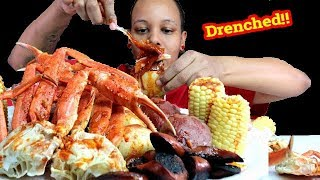 CRAB LEGS SEAFOOD BOIL MUKBANG DRENCHED IN SAUCE
