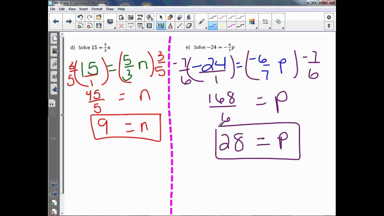 Solve Linear Equations With Rational Coefficients Lesson
