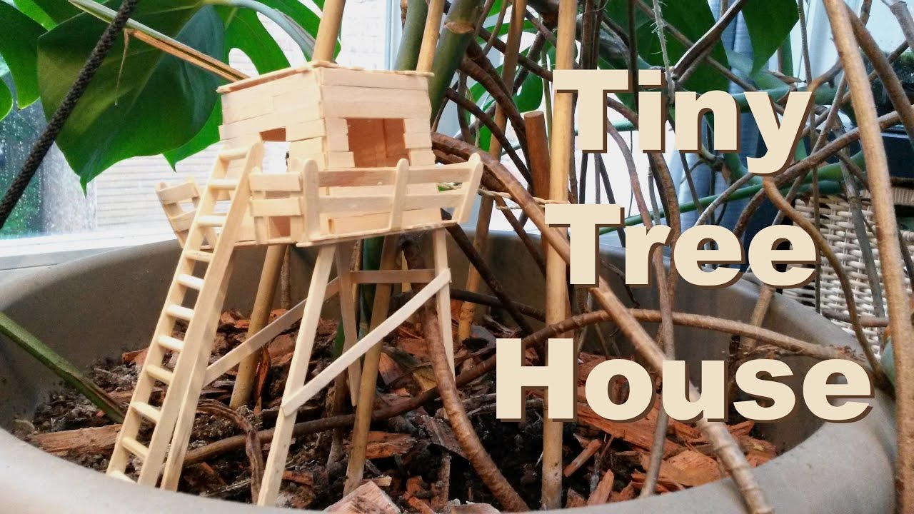 Tiny treehouse made out of popsicle sticks 01 youtube for How to build a treehouse with sticks