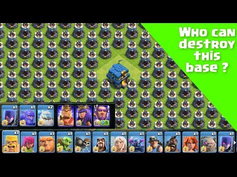 Every Troops Vs Massive Bomb Tower Base | Clash Of Clans