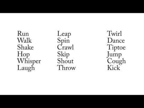 list of action words