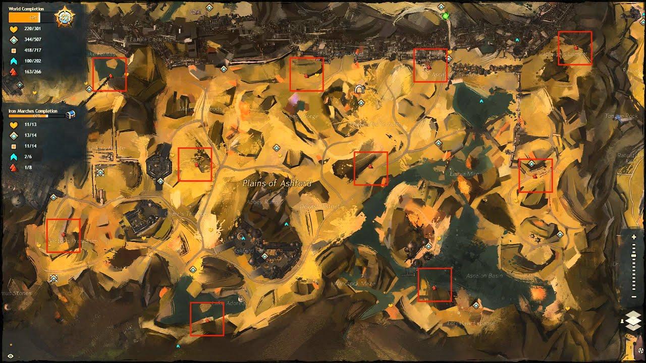 Guild Wars 2 Plains Of Ashford Vista Interactive Vista Map Guide