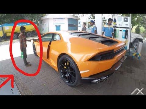 BJP MLA car (Begger reaction) Lamborghini Huracan Huge revs | Supercars of Mumbai | India 2017