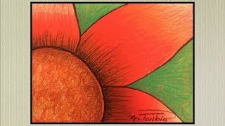 How to draw an oil pastel flower, inspired in Georgia O