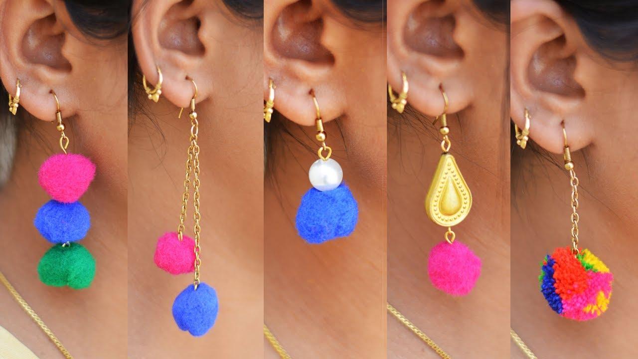 5 Easy Pompom Earring Design Diy 5 Min Craft Hand Made Jewelry