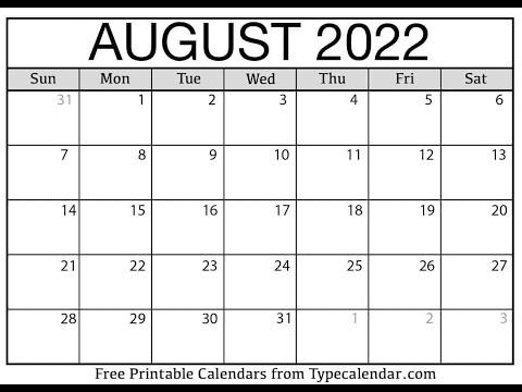 Free Printable August 2021 Calendars