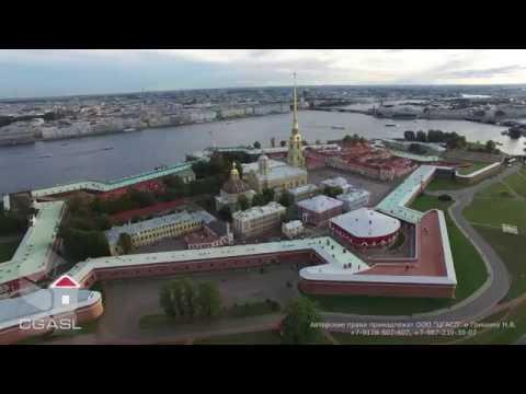 Смотреть Аэросъемка города Санкт-Петербург (Петропавловская крепость, Музей артиллерии) онлайн