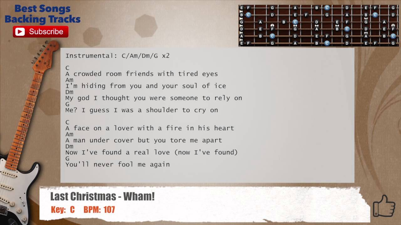 Last Christmas Wham Guitar Backing Track With Scale Chords And
