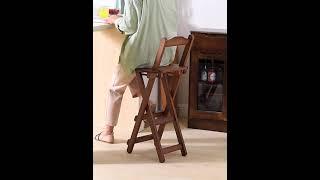 북유럽 고급 원목 홈 바 의자 우드 접이식 캠핑 등받이…