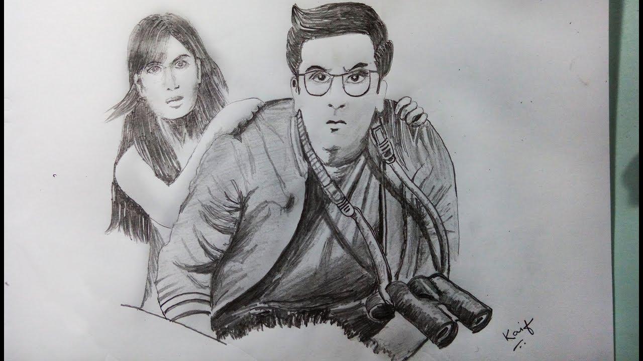 Ranbir kapoor and katrina kaif speed drawing from the movie jagga jasoos kaif sketch