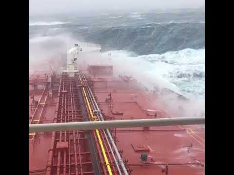 Cork Ship Plows Through Huge Waves From Former Hurricane Ophelia