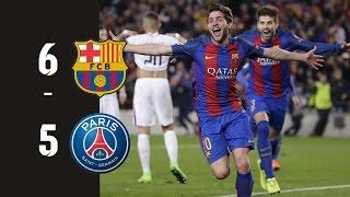 vuclip FC Barcelona vs PSG (Paris St-Germain) 6-5 All goals HD ● Feb 14 (0-4) & Mar 8 (6-1)