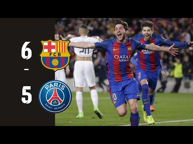 FC Barcelona vs PSG (Paris St-Germain) 6-5 All goals HD ● Feb 14 (0-4) & Mar 8 (6-1)