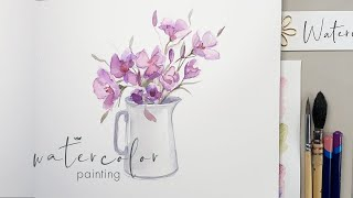 Delicate Wildflower Bouquet - Watercolor Painting demonstration
