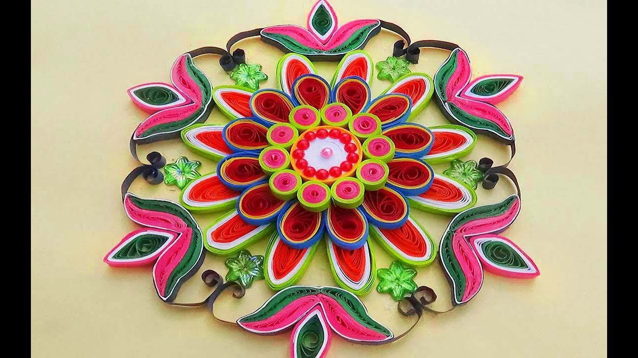 Papercraft Paper Quilling |Easy and simple rangoli using flowers | Creative rangoli designs