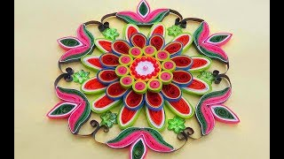 Paper Quilling |Easy and simple rangoli using flowers | Creative rangoli designs