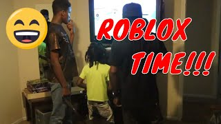 KID GETTING HYPE OVER VIDEO GAME!!! (ROBLOX)