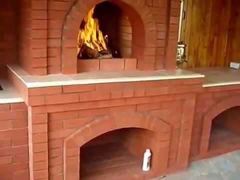 Барбекю в беседке, камин печка.