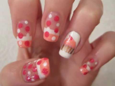 cupcake birthday nail art