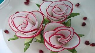 Цветы из редиса. Украшения из редиса и огурца для оформления блюд