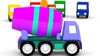 Lehrreicher Zeichentrickfilm - Die 4 kleinen Autos - Wir bauen einen Zementmischer