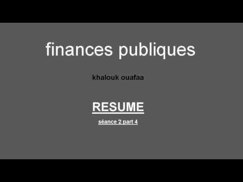 Finances publiques s4 - seance 1 partie 4 (RESUME)