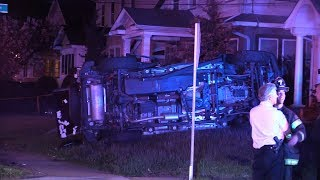 Accident Rollover Overturned car on front lawn Multiple injuries Paterson NJ