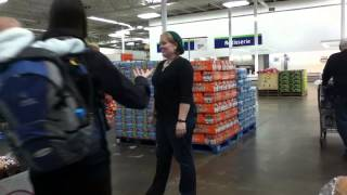 Sarah Dances With Costco Farmers Selling Their Peach Salsa In Golden, Colorado