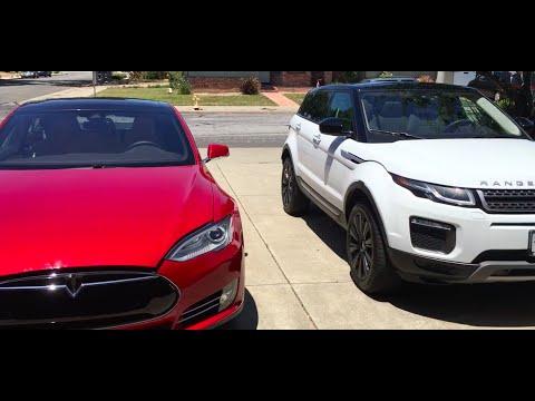 Range Rover Los Angeles >> Dad's Tesla & Mom's Range Rover - YouTube