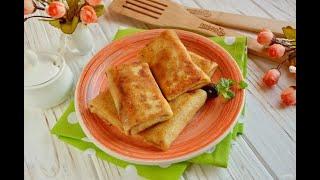 Блинчики фаршированные сыром Рецепт приготовление