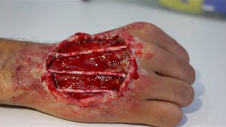 Easy Open Hand Wound using SFX makeup (Halloween)| Thuri Makeup