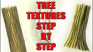 3 Ways to Color Tree Bark Textures in Colored Pencil
