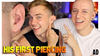 Piercing Calum's Conch For The First Time! | Roly