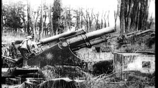 A British 9.2 inch Howitzer being fired in France, during World War I. HD Stock Footage