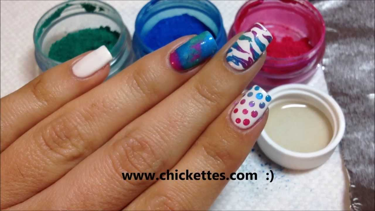 Nail Art Techniques using CND Additives / Pigment Powders - YouTube