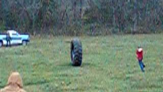 Tractor Tire riding and rolling at the Jeffries family Thanksgiving Jerico Springs, MO