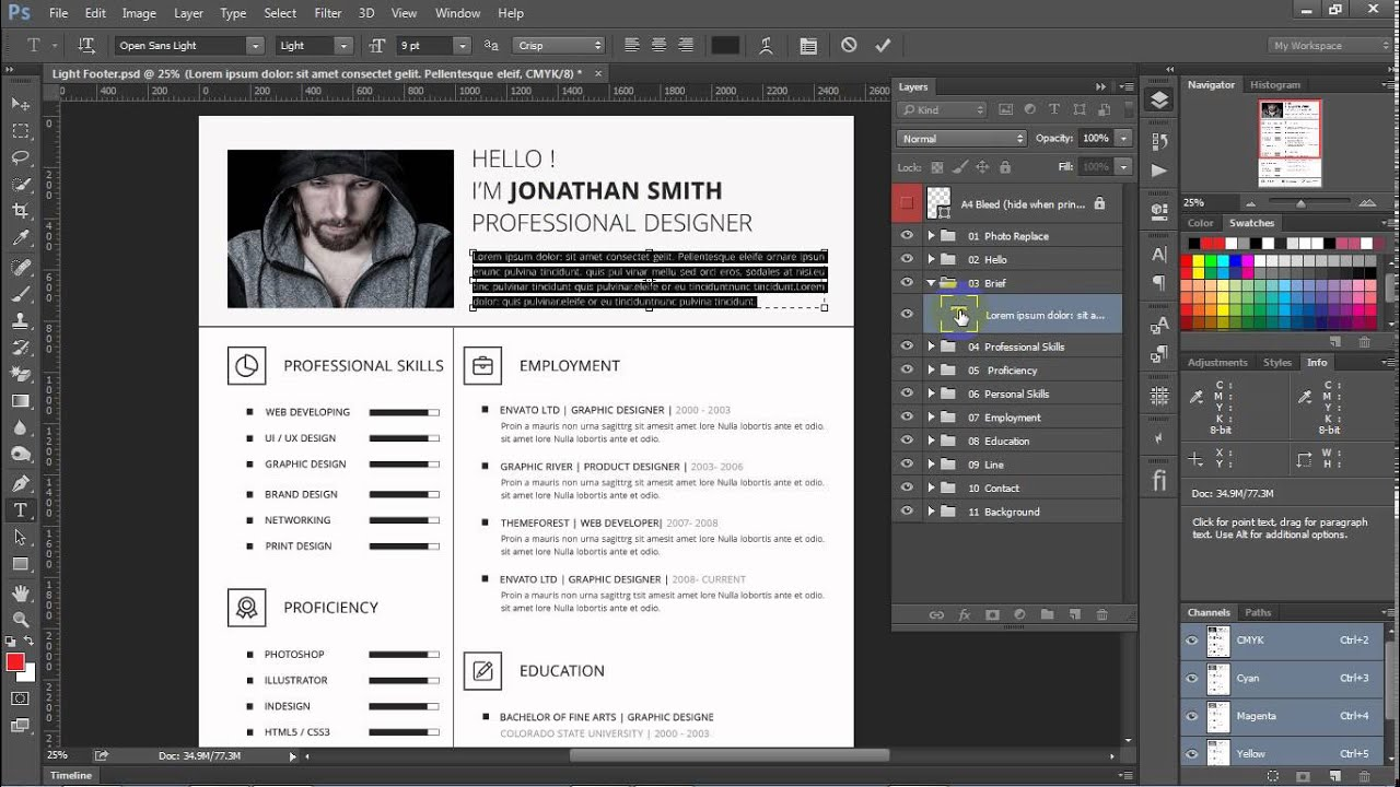 One Page Resume Template Youtube