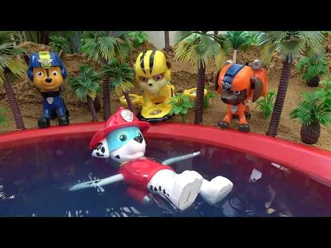 Paw Patrol Toys Chase, Marshall, Rubble, Zuma Swimming on Water with Learn Colors