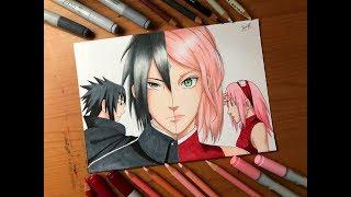Speed Drawing - Sasuke Uchiha & Sakura Haruno (Boruto the next generation) [HD]
