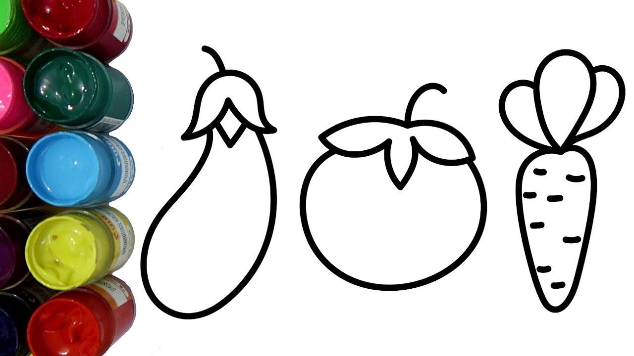 Belajar Mewarnai Melukis Sayuran Terong Tomat dan Wortel dengan Cat Air Coloring Pages for Kids