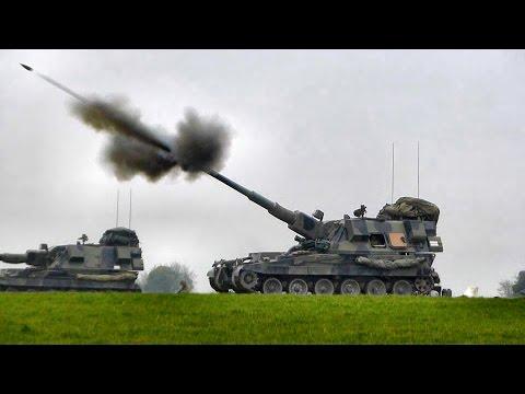 British Army Guns in Action - AS90 Mobile Artillery firing