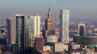 Piękna panorama Warszawy - widok z Warsaw Spire
